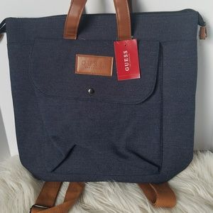❓ GUESS ❔ Dark Denim Canvas Backpack Tote 🏷NWT